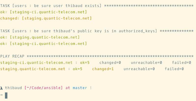 "thibaud is using bash for the staging server, one ""ok"", one ""changed"""